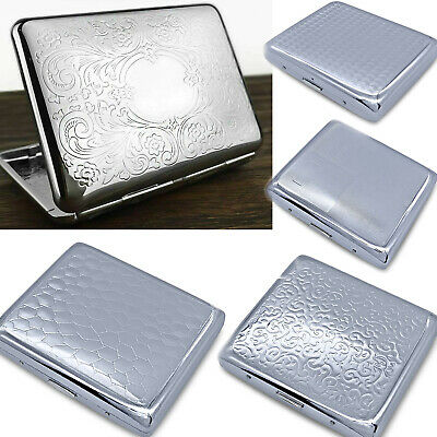 Metal Cigarette Case For Women Men Slim Box Holds 20 Cigarettes 84mm With Spring • 4.89£