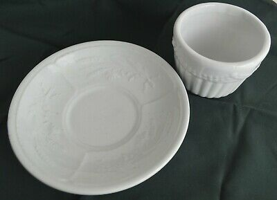 $19.99 • Buy 2pcs Antique Ironstone Cup & Saucer Handleless Wheat & Ribbons Design