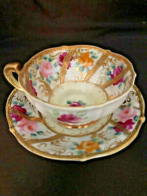 $12 • Buy Antique Porcelain Cup & Saucer Japanese Heavy Gold Moriage And Roses