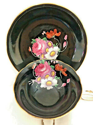 $28 • Buy Paragon Black With Roses And Daisies Antique Tea Cup And Saucer