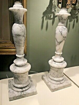 Amazing Pair Neo Classical Marble Tall Regency Column Table Lamps Minty • 586.81£