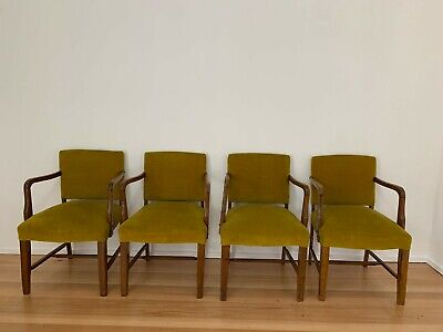AU299 • Buy Retro Mid Century Style Dining Armchairs In A Mustard Velvet Set Of 4