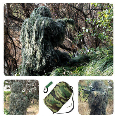 NEW 5Pcs Ghillie Suit Hunting Archery Sniper Wrap Bag Paintball Camo Adult Gilly • 36.02£