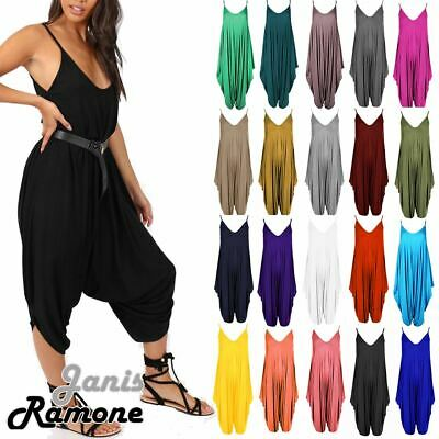Womens Ladies Plain Cami Jumpsuit Baggy Oversized Harem Alibaba Romper Playsuit • 10.99£