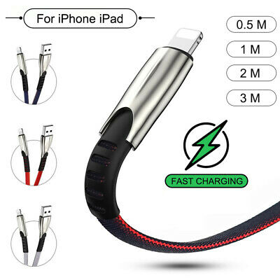For Apple IPhone Charger Cable USB Fast Charging Data Sync Braided Lead 3M 2M 1M • 1.98£