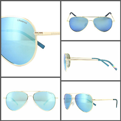£9.99 • Buy Childrens Polaroid Stylish Mirror Sunglasses Kids In Gold And Blue Summer Unisex