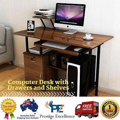 AU149.99 • Buy New High Gloss Deluxe Computer Desk With Drawers And Shelves Workstation Walnut