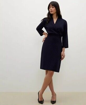 $ CDN181.22 • Buy NEW MM Lafleur Niko Dress Stripe Navy Size 12 Office Career Workwear