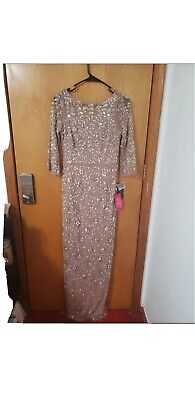 $200 • Buy Aidan Mattox Rose Gold Long Sleeve Beaded Evening Gown Prom Size 2 NWT $495