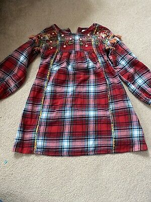 Next Girls Red Check Embroidered Dress Size 5 To 6 Years  • 5£