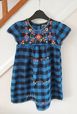 Girls Next Tunic Dress Age 7 Flower Embroidery And Check Pattern • 1.45£