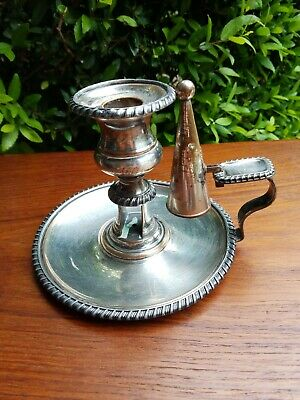 Antique English Sheffield Silver Plate Candle Holder With Original Snuffer • 63.99£