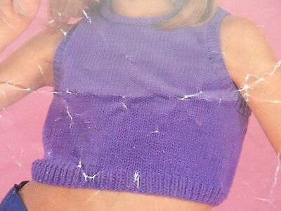 Girls Childs Cropped Top 22-30  Chest DK Vintage Knitting Pattern • 1.50£