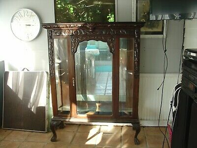$450 • Buy Antique Carved Horner Style Mirrored Glass Display Cabinet Figural Horner Style