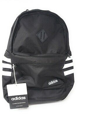 $44.99 • Buy Adidas Classic 3 Stripe III Backpack Laptop Gym School Bag, Black/White, NEW