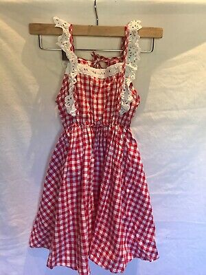 Kids Girls Red White Summer Dress Gingham Checked Patterned Ubaby 140 • 2£