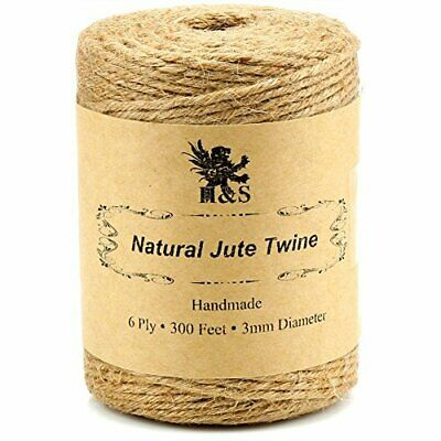 H&S Jute Twine String 600 Feet 6ply 3mm Thick Strong Natural Jute Rope Roll • 9.99£
