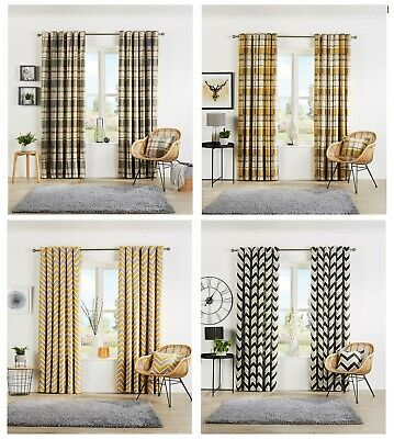 Eyelet Curtain Pair Designer Fully Lined Ring Top Curtain Light Reducing CURTAIN • 30.95£