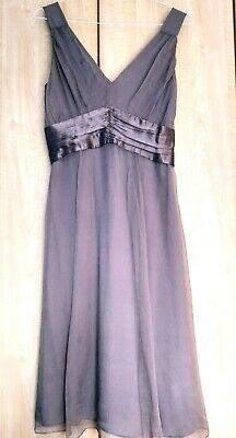 Monsoon Lilac Mink Silk Mauve Cocktail Dress 12-14 -  Bridesmaid Wedding Party • 14.99£