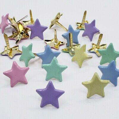 $1.50 • Buy 25 Pastel Star Brads Paper Crafts Announcement Scrapbooking Baby Shower Stamping