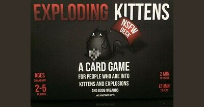 AU18 • Buy NEW SEALED Exploding Kittens Card Game  NSFW  (BLACK) Kitten Party Board Game