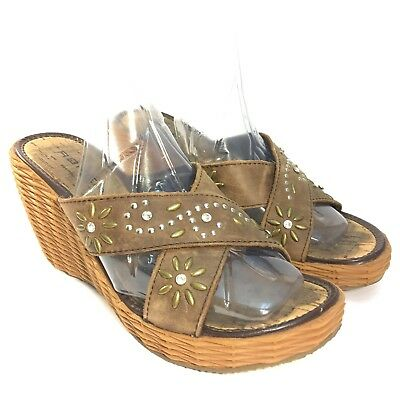 $15.99 • Buy Roper 7 Wedges Brown Leather Sandals Shoes Western Summer Floral Open Toe