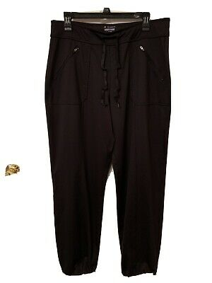 $18 • Buy Tek Gear On The Go Black Activewear Pants Drawstring At Ankles Size L
