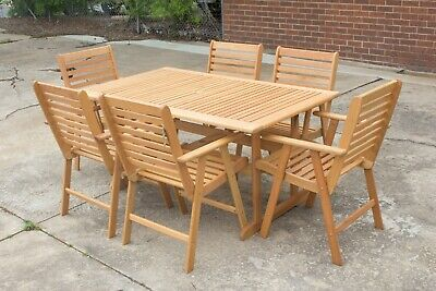 AU799 • Buy Kakadu - 7 Piece Outdoor Setting - Eucalyptus Timber Table With Matching Chairs