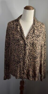 AU18.48 • Buy Pull And Bear Size 10 Animal Print Long Sleeved Collared Shirt.