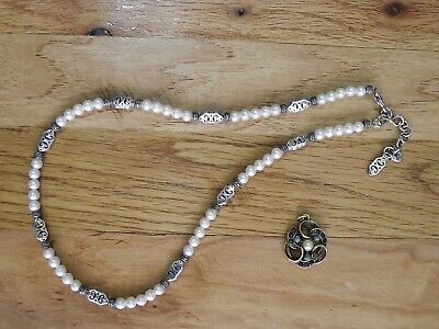 $14 • Buy Brighton Faux Pearl Silvertone Necklace & Emmons Pendant Signed