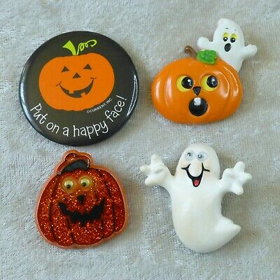 $ CDN15.39 • Buy Vintage Halloween Pin Lot Hallmark Russ Current Ghost Jack O Lantern Googly Eyes