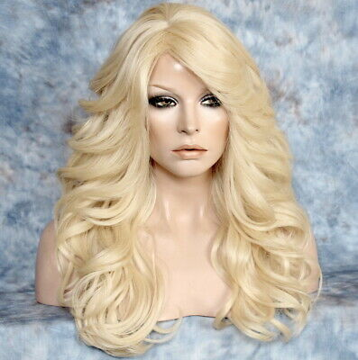 $68.35 • Buy Human Hair Blend Full Wig Bleach Blonde Wavy Bang Heat OK Feather Sides WEPX 613