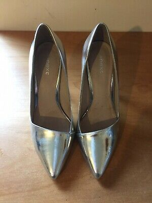 Next Metalic Silver High Heel Shoes Size 3 1/2 In Gc. • 3.50£