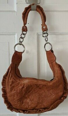 $24.99 • Buy Stunning Brown Leather Treesje Ruffled Purse Made