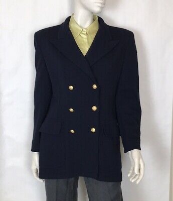 Les Copains Vintage 90s Double Breasted Knit Wool Nautical Blazer 6 Navy Blue • 142.34£