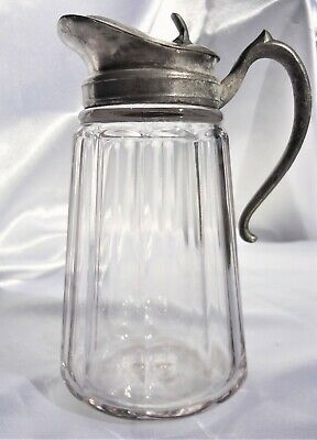 $45 • Buy Antique ~ Thick Clear Glass ~ Paneled ~ Syrup Pitcher ~ Heavy ~ On Sale !