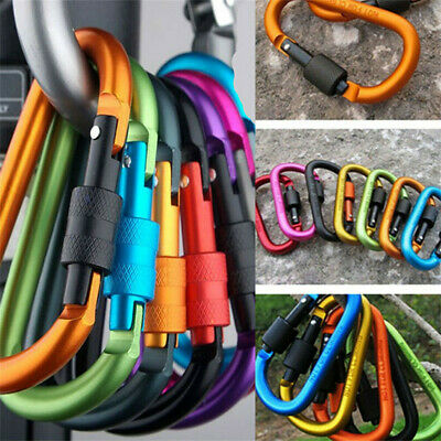 Set Of 6 Aluminum Carabiner D-Ring Clip Hook Hiking Keychain Screw Locking UK • 4.99£