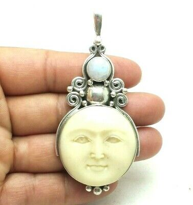$49.99 • Buy Moonstone Carved Moon Face Sterling Silver 925 Pendants 16g GAM120