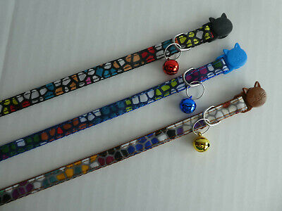 £2.75 • Buy CLEARANCE SALE (CC075) Crazy Paving Pattern Rainbow Cat Collar, Safety Release