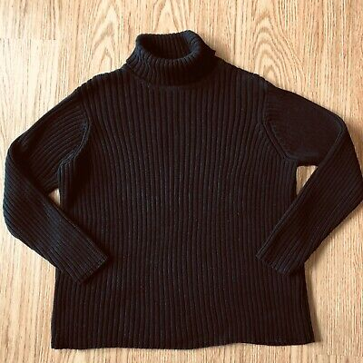 $15 • Buy Talbots Small Black Ribbed Turtle Neck Cotton Cable Knit Sweater Top