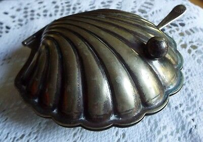 Silver Plated EPNS Opened Scallop Oyster Shell  Bowl Butter Dish Glass Lined • 19£