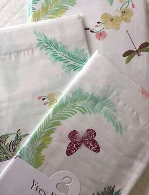 Yves Delorme EVASION MENTHE SATIN BUTTERFLIES BIRDS Duvet Cover Set KING • 399.99£