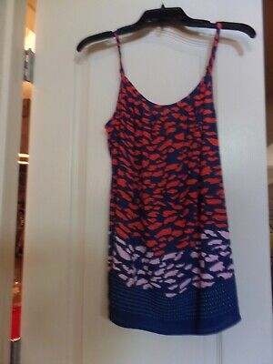 $3.25 • Buy CAbi PRE OWNED Size S Smooch Cami #5548 Red Navy Pink