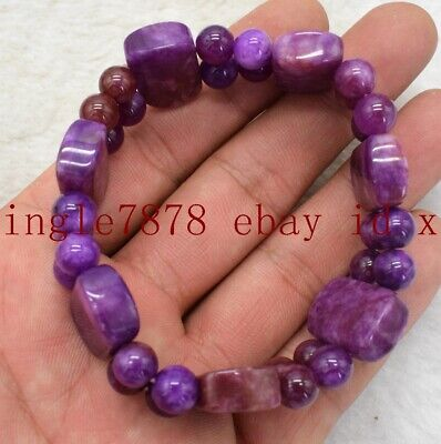 $29.88 • Buy Natural 2 Row Sugilite Gemstone Rectangle Beads Elastic Bracelet 7.5''