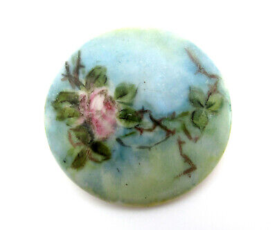 $21.99 • Buy LARGE Antique Hand Painted Pink Rose Blue Porcelain Sewing Shank Button Ceramic