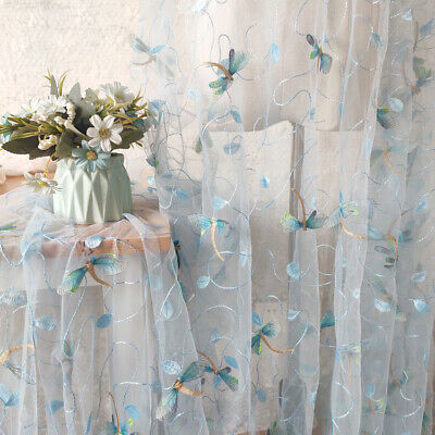 1 Yard 3D Dragonfly Embroidered Tulle Lace Fabric For Dress Gown DIY Material • 9.99£