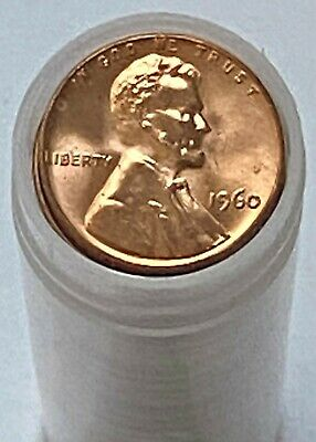 $4.95 • Buy 1960 P 1C Lincoln Memorial Cent Roll - 50 Coins BU Brilliant Uncirculated