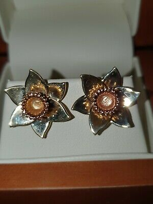 CLOGAU GOLD 9 Ct YELLOW And ROSE GOLD DAFFODIL EARRINGS BNEW • 48£