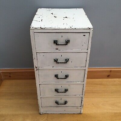 Antique Chest Of Drawers Cabinet Old Collectors Bedside Vintage Chippy Paint • 95£