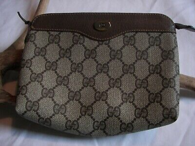 $124.99 • Buy Gucci Beige GG Canvas Leather Cosmetic Case Wallet Vintage Accessory Collection